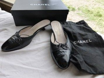 Chanel Black Leather / Patent Leather Mules $216
