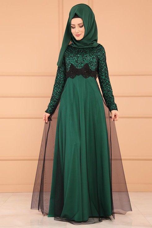 Modaselvim Abiye Gupurlu Tul Etek Abiye Ech7224 S Zumrut Dresses Muslim Women Girls Denim