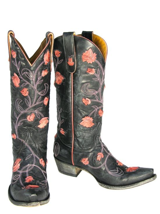 Very Popular! Old Gringo Abby Rose Black &amp Pink Womens Cowboy Boot