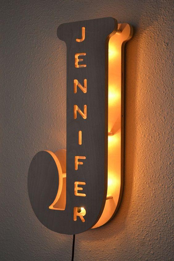 Lámpara de la habitación del niño - personalizada nombre signo, luces de marquesina, carta nombre de la familia de luz, personalizada, noche luz, luz del dormitorio de los niños: