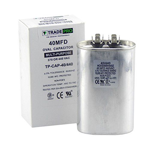 40 Mfd Capacitor Industrial Grade Replacement For Central Air Conditioners Heat Pumps Condenser Fan Motors And Compressors Oval Multi Purpose 370 440 Volt