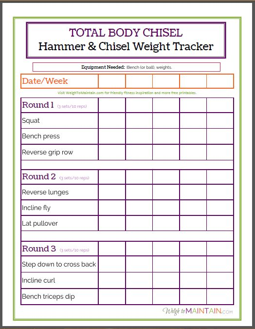 total body chisel weight tracker worksheet fitness pinterest hammer and chisel the o 39 jays. Black Bedroom Furniture Sets. Home Design Ideas