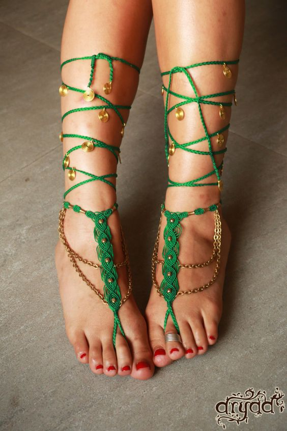 Barefoot Sandals Pair ~ Macrame and Brass by TheDryadStore on Etsy