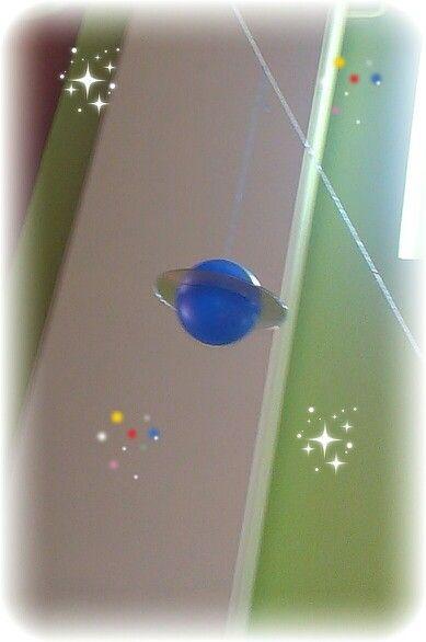 Planetas reciclados.Con una pelota cortada por la mitad y enganchada en un cd o dvd antiguo con silicona.