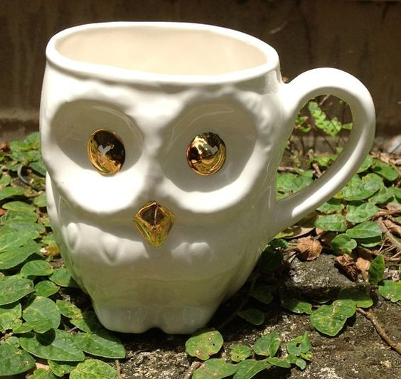 Owl coffee cup tea cup white and gold by muddyme on Etsy, $23.00