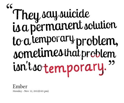 Whats a logical solution to suicide?