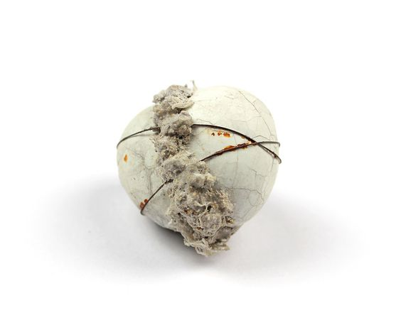 Anja Eichler - Interlocked  quail eggs, concrete, iron wire, bandage, silver