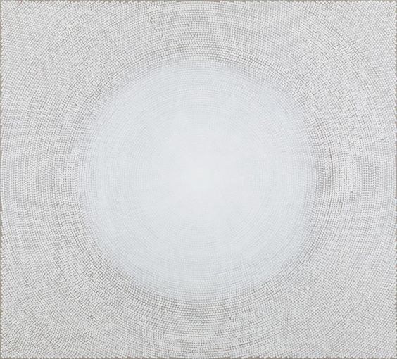 """For the Domes the texts have been removed so they almost become more universaljust light. They refer to mosaics and architecture but they are also not really bricks anymorejust pure white light."" #YZKami  The artist born today January 30th in Tehran Iran. __________ Image: Y.Z. Kami ""White Dome II"" 2014 block ink and acrylic on linen 90  99 inches (228.6  251.5 cm)  Y.Z. Kami by gagosiangallery"