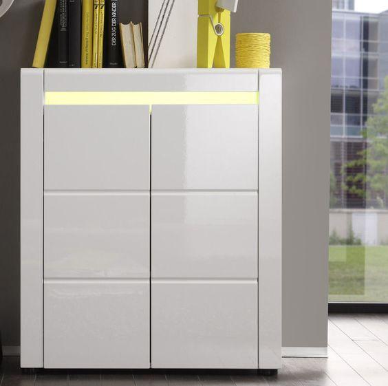 Kommode Hochglanz weiß RGB LED Anrichte Highboard Wohnzimmer - schlafzimmer kommode weiß hochglanz