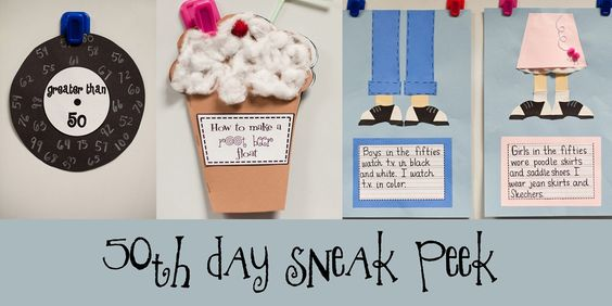 Love these 50th day ideas!  http://thefirstgradeparade.blogspot.com/: School 1950S, School 50Th, 50 Ideas, 50S Ideas, Teaching Ideas, 50S Day School, School Ideas, Classroom Ideas