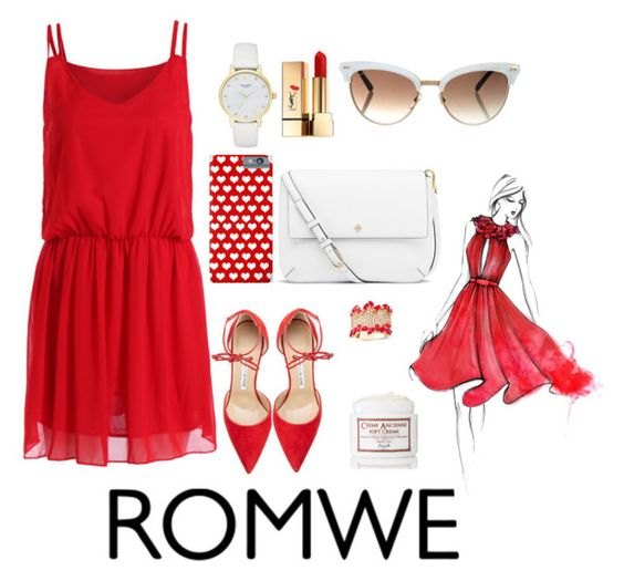 """""""#20"""" by melissious on Polyvore featuring Yves Saint Laurent, Tory Burch, Gucci, Effy Jewelry, Manolo Blahnik, Kate Spade, Fresh, white and red"""