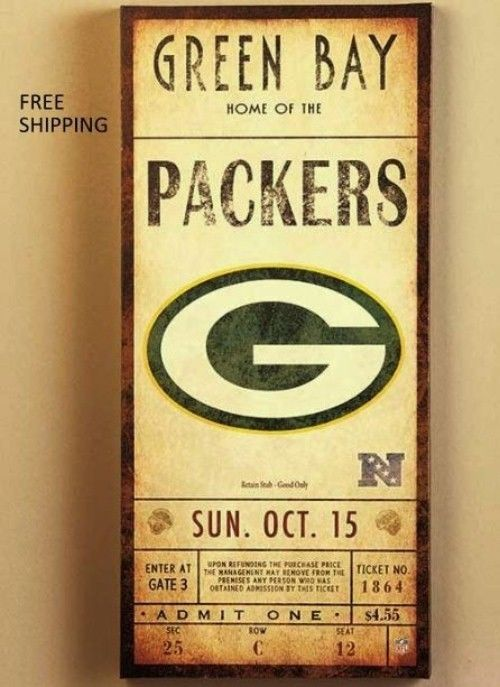 Nfl Classic Ticket Green Bay Packers Wall Art Home Decor Picture Sign Football from $37.49