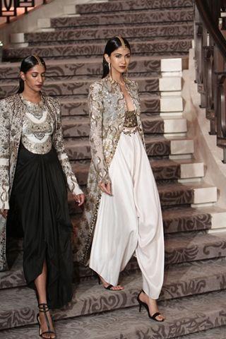 jacket with crope top and sharra/pallazos/dhoti pants Anamika Khanna  - Summer/Resort 2015