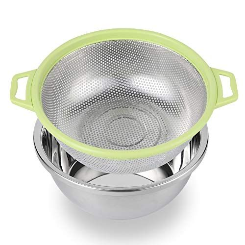 Bonow Colander Stainless Steel With Handle And Base 5 Quart Kitchen Strainer Baskets Match Mixing Bowl For Food Veget In 2020 Kitchen Strainer Washing Basket Basket