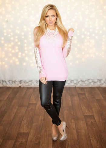 Party Sequins Patch Sweater Pink