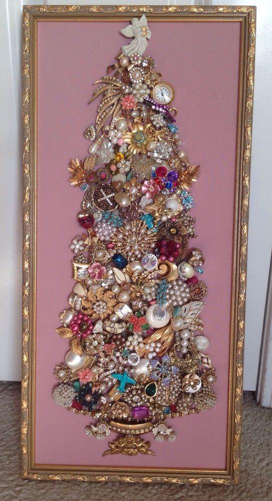 Large 10x22 Vintage Rhinestone Jewelry Christmas Tree Framed Art Pink