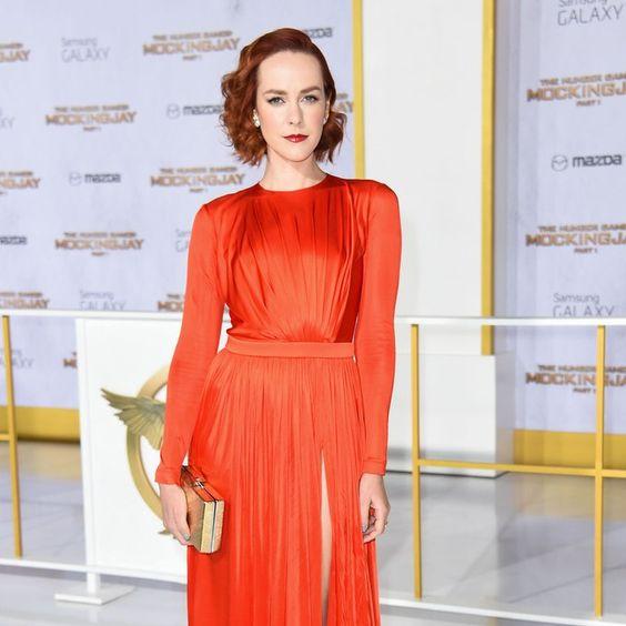 jena malone orange emanuel ungaro dress hunger games mockingjay los angeles premiere 2014