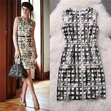 Primavera-Verão de seda impresso vestido sem mangas da Mulher - BRL R$ 184,88