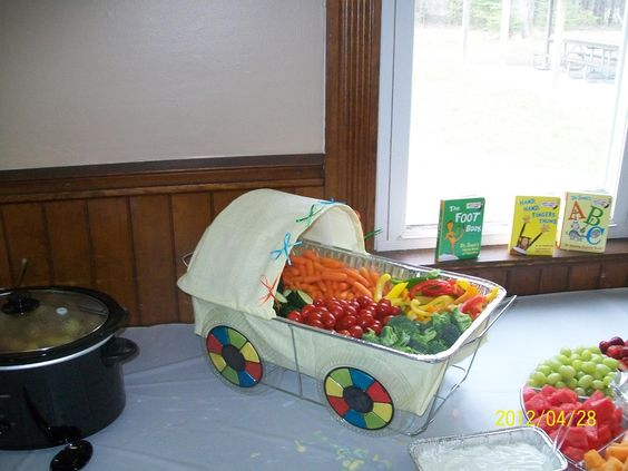 "A creative ""veggie tray"" at a baby shower"