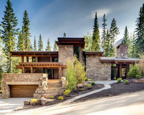 Rugged Mountain Ski Retreat In The Canadian Rockies Mountain Home Exterior Minimalist House Design Modern Exterior