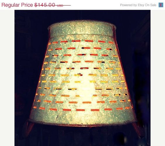 """Sale weekend On sale Italian hanging light fixture Olive bucket re purposed / $119 / 16"""" at opening"""