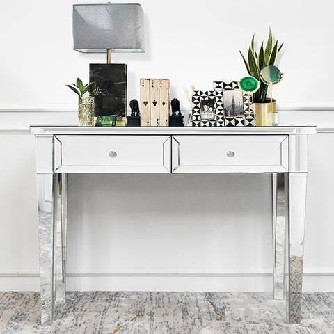 Cristal Mirrored 2 Drawer Console Table Mirrored Console Table Hallway Table Decor Console Table Decorating