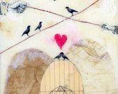 "STORE CLOSING SALE Original Encaustic Painting, Encaustic Art, - ""Love Birds"""
