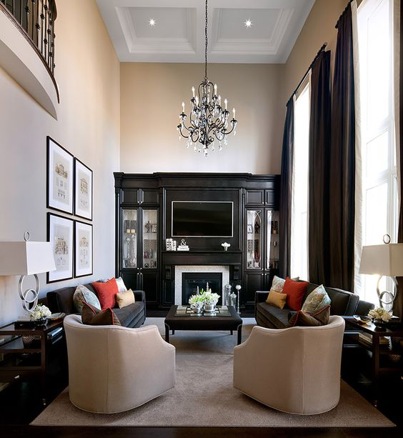 Living rooms family rooms jane lockhart interior for Interior design ideas narrow living room