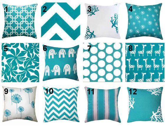 Turquoise Throw Pillow - Premier Prints True Turquoise Decorative Throw Pillow -- Free Shipping. $15.99, via Etsy.