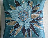 Centerpiece - Throw Pillow Covers - 18x18 Inches Silk Pillow Cover with Embroidery and Sequins