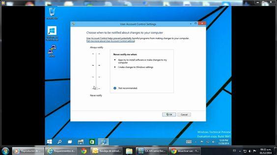 Turorial para desactivar o activar el control de cuentas de usuario en Windows 10. How to disable/enable UAC in Windows 10.