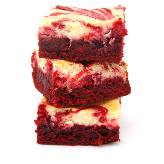 Red Velvet Cheesecake Brownies    Printer Friendly Version    Ingredients:        1/2 cup butter      2-oz dark chocolate, coarsely chopped      1 cup sugar      2 large eggs      1 tsp vanilla extract      1 1/2 tsp red food coloring      2/3 cup all purpose flour      1/4 tsp salt      8-oz cream cheese, room temperature      1/3 cup sugar      1 large egg      1/2 tsp vanilla extract    Directions:        Preheat oven to 350F. Butter the bottom and sides of a 8 inch metal baking pan…