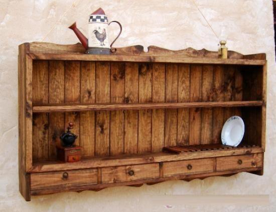 Platero de madera maciza rustico mueble de 150 de ancho for Muebles rusticos de madera