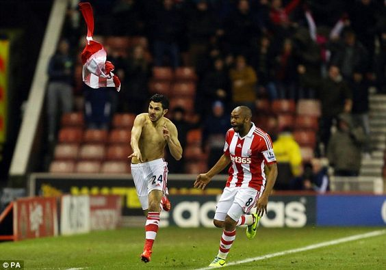 Late show: substitute  Oussama Assaidi scored a brilliant goal to hand Stoke City a surprise 3-2 win over Chelsea