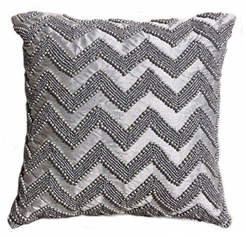 Tahari Home Decorative Pillow : Tahari Chevron Beaded Decorative Toss Pillow Cover Bugle Beads Accent Throw Pillow Cushion Cover ...