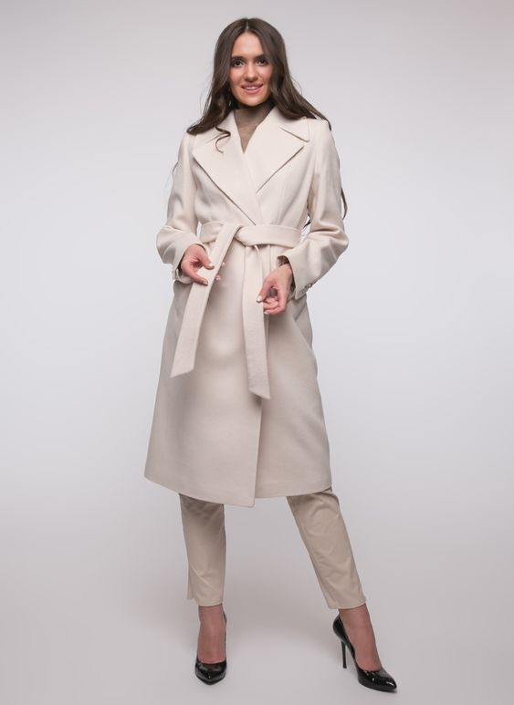 Женское Пальто приталенное шерстяное 77, idekka цвет Молочный,белый за 6900 руб. арт.1136806