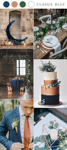 fall wedding palette - classic blue wedding palette autumn inspirations cake with fresh flowers