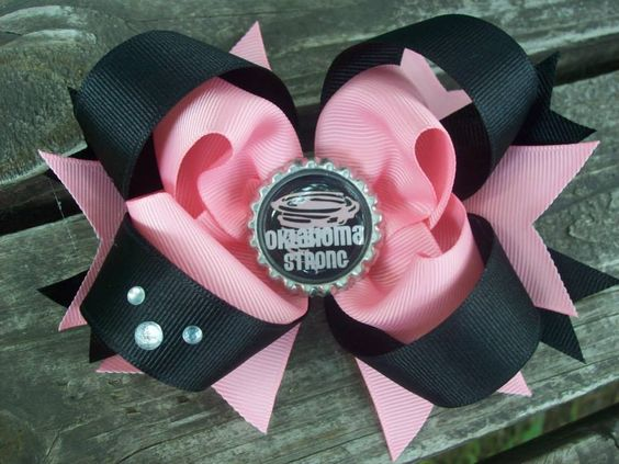 "5"" Flat back Stacked bow with bottle cap and rhinestones"