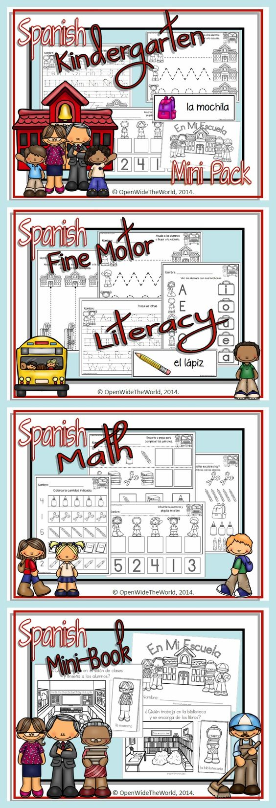 SPANISH Dual Language Immersion BTS mini-pack for KINDERGARTEN. (Grade 1 in some Canadian provinces) Includes: Math, Literacy & fine motor practice. No English on student pages!