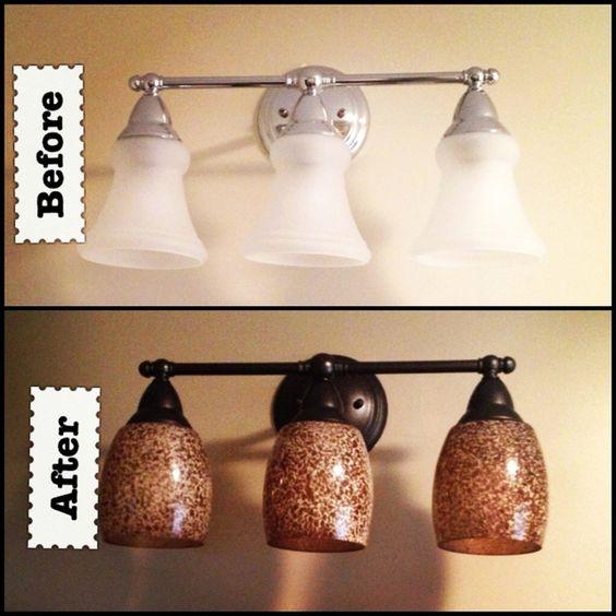 Bathroom light fixtures sprays and light fixtures on for Painting metal light fixture bathroom