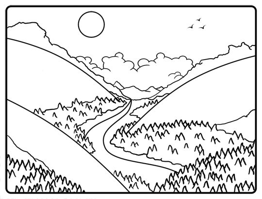 Line Drawing River : Black and white drawing of a cartoon valley