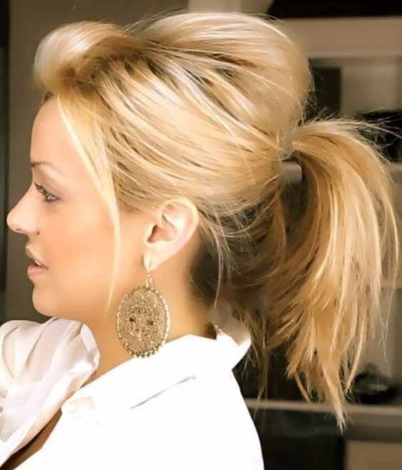 You Like This Extravagant Ponytail If You Want To Mimic First Brush Your Hair Smooth And Then Make A High Short Hair Ponytail Hair Styles Medium Hair Styles