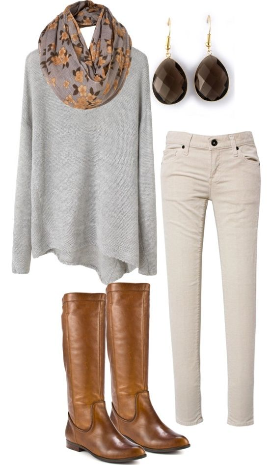 Ivory jeans, comfy sweater, boots, scarf | Fall, spring