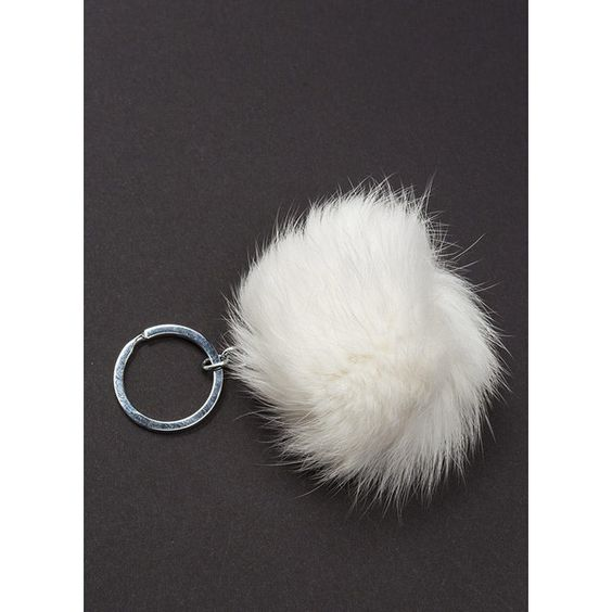 WHITE Faux Fur Real Pom-Pom Keychain ($2.76) ❤ liked on Polyvore featuring accessories, white, key chain rings, pom pom key rings, keychain key ring, ring key chain and pom pom key chain