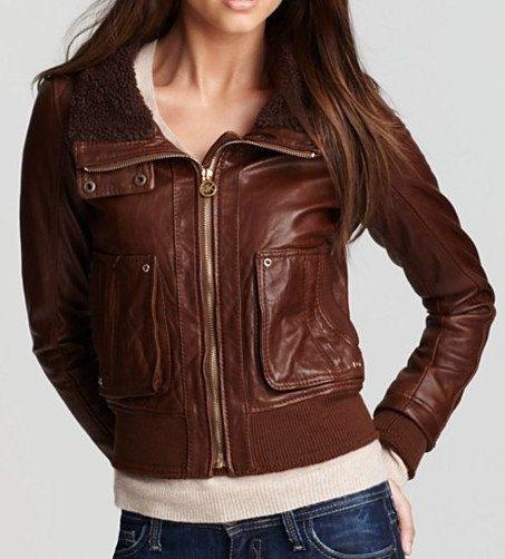 Women&39s Stylish Brown Collar Leather Jacket Women&39s Handmade