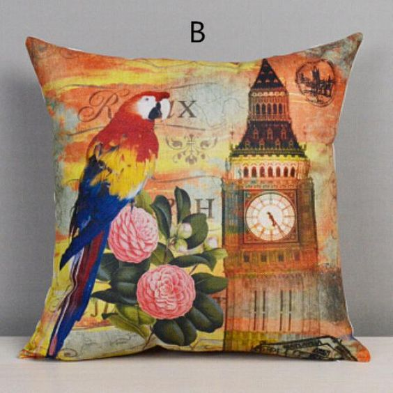 Parrot Bird throw pillow decorative home couch cushions 18 inch