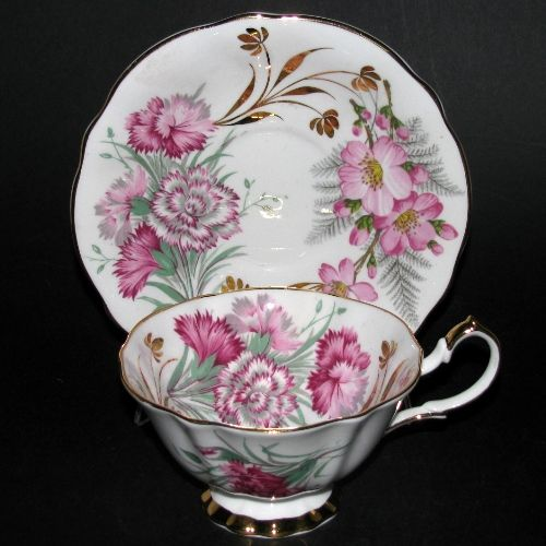 Queen Anne Pink Flowers Teacup and Saucer