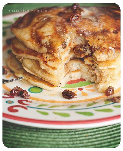 Cinnamon Rum Raisin Swirl Pancakes