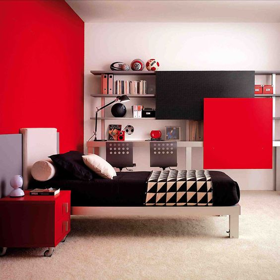chambre ado 6 id es d co pour am nager une chambre de gar on moderne d co et rouge. Black Bedroom Furniture Sets. Home Design Ideas