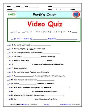 Bill Nye - Earth's Crust – Worksheet, Answer Sheet, and Two ...